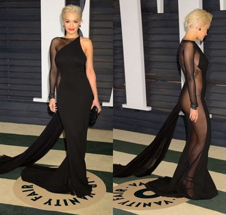 dress gown rita ora oscars 2015 sheer one shoulder red carpet dress