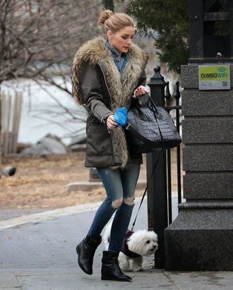 jacket olivia palermo fur jacket fur jeans ankle boots boots shoes