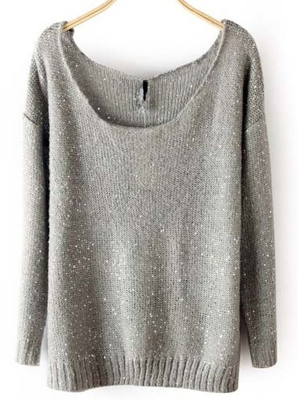 sweater grey long sleeves sequins casual chic style cute