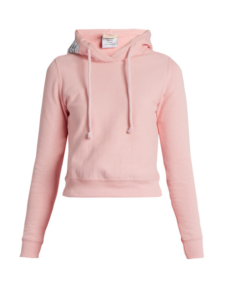 d88073b8c11f VETEMENTS X Champion hooded cotton-blend sweatshirt in pink - Wheretoget