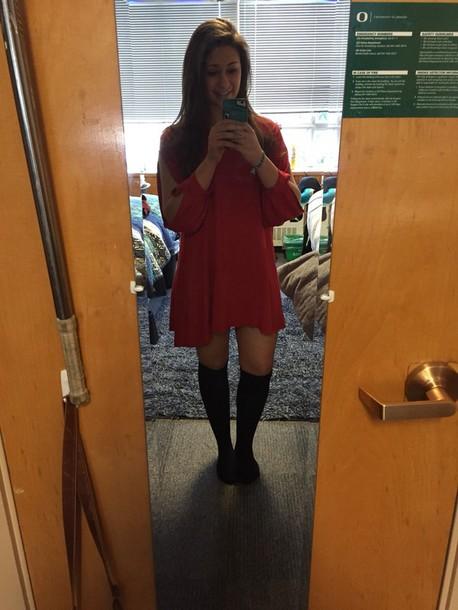 dress lightweight lightweight dress red dress long sleeves cute dress