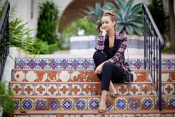 blogger ballet flats late afternoon top jacket bag