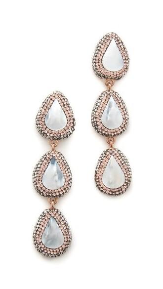 rose gold rose pearl earrings gold jewels