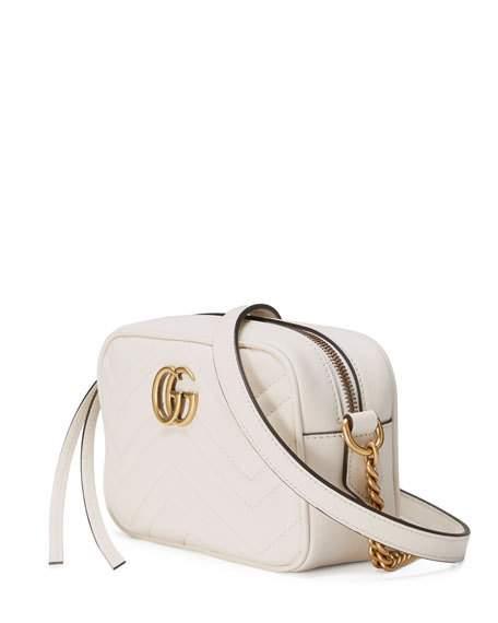 4e9ccae7463918 Gucci GG Marmont Mini Matelassé Camera Bag, White