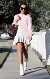 posh classy mom – a lifestyle blog by sheree,blogger,sweater,skirt,shoes,bag,fall outfits,louis vuitton bag,ankle boots,white boots,white skirt