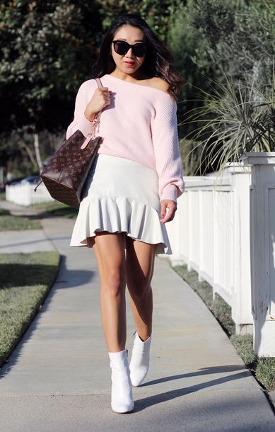 posh classy mom – a lifestyle blog by sheree blogger sweater skirt shoes bag fall outfits louis vuitton bag ankle boots white boots white skirt