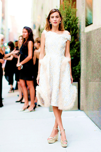 dress gown alexa chung sandals wedges feathers midi dress white dress