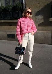 sweater,pink sweater,knit,spring sweater,white jeans,sunglasses,shoes,bag,knitted sweater,jeans
