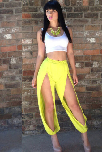 pants yellow front cut out