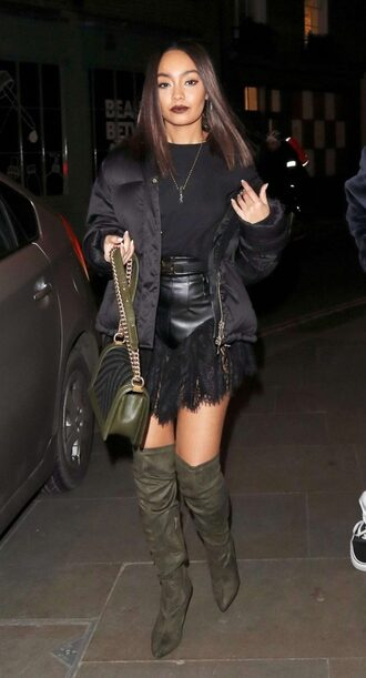 shorts top jacket boots suede boots leigh-anne pinnock fall outfits streetstyle shoes little mix