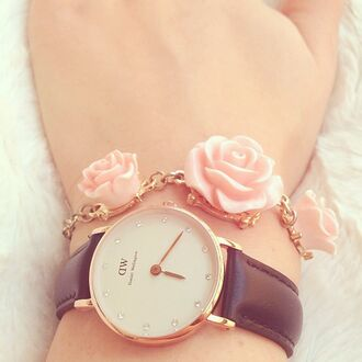 jewels watch roses rose rosy tumblr bracelets black pink girl pretty lovly