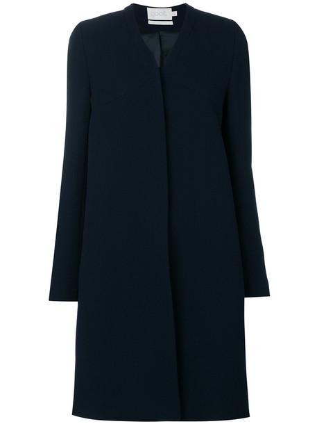 Goat coat women blue wool
