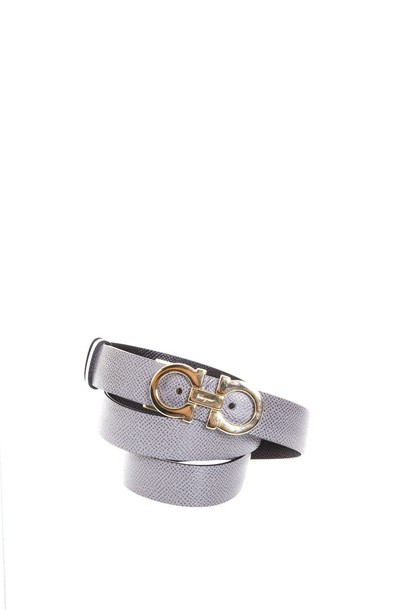Salvatore Ferragamo belt leather black grey