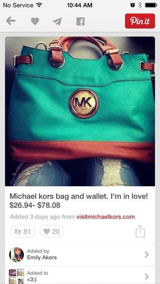 bag micheal kors teal and brown bagg