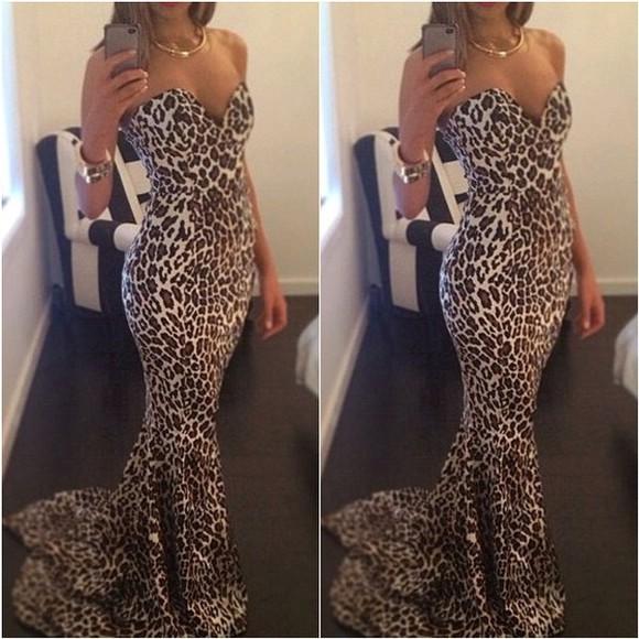 dress gown leopard print strapless dresses strapless mermaid mermaid dress mermaid gowns leopard print dress
