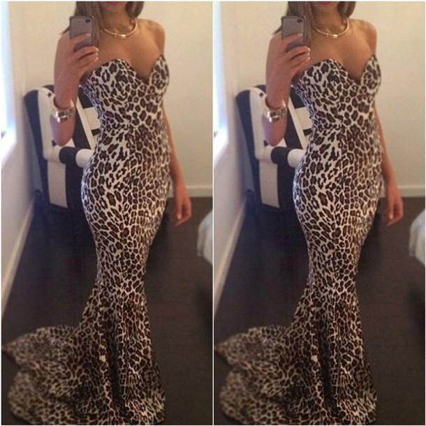 gown, dress, leopard print, strapless dress, strapless, mermaid ...