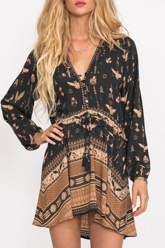 dress black summer fashion style boho flowy long sleeves print gypsy