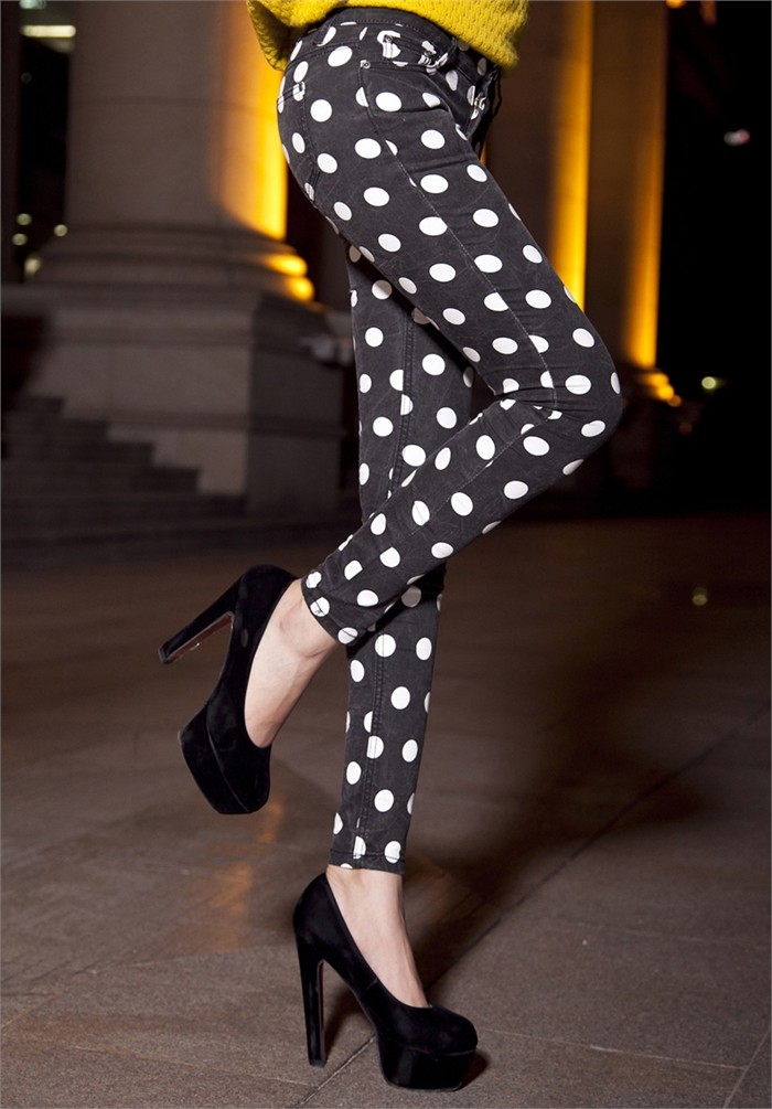Personalized polka dot slim jeans female butt lifting skinny pants pencil pants fashion female-inJeans from Apparel & Accessories on Aliexpress.com