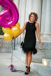 something delightful,blogger,dress,shoes,jewels,bag,tights,black dress,pumps
