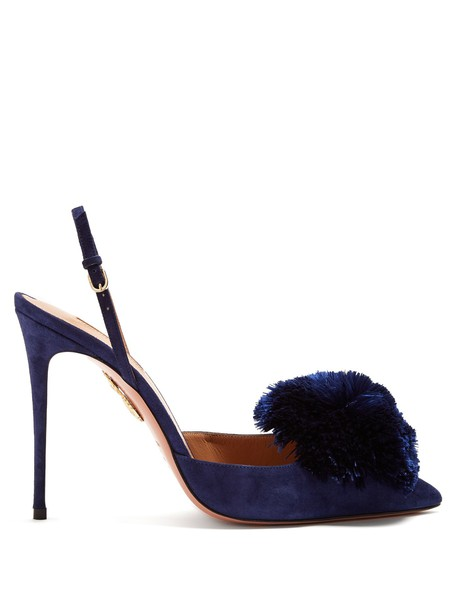 Aquazzura suede pumps pumps suede navy shoes