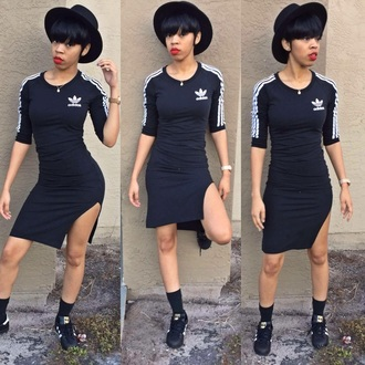 dress gfm adidas adidas superstars black dress adidas shoes lipstick hat gucci black red lipstick
