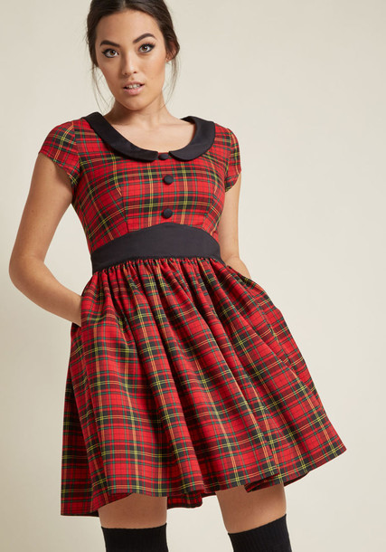 DR5399 skirt pleated skirt rock retro pleated style number plaid black red