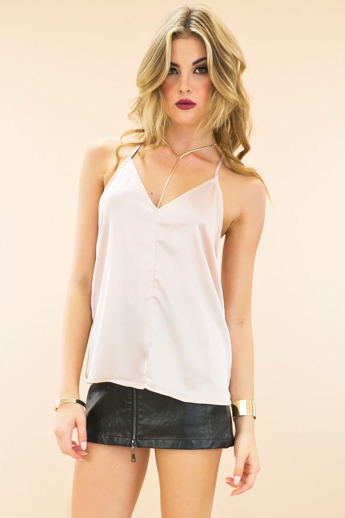 Mains satin crop cami top