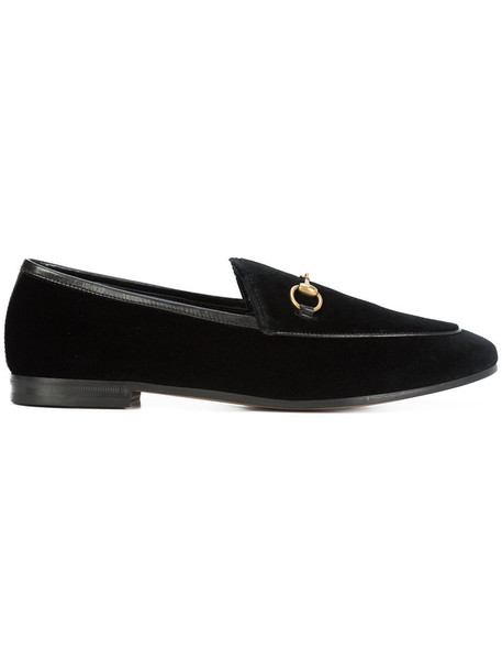 gucci women loafers leather black velvet shoes