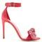 Embellished-bow satin sandals
