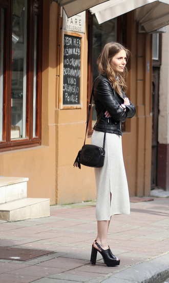 fashion and style blogger thick heel black heels slit dress leather jacket gucci bag spring outfits skirt