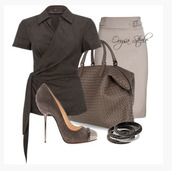 shirt,top,short sleeve,collar,cross over top,wrapped top,charcoal,shoes,heels,high heels,pumps,steel toe pumps,suede heels,bag,purse,bracelets,bangle,skirt,pencil skirt,tope skirt,clothes,outfit