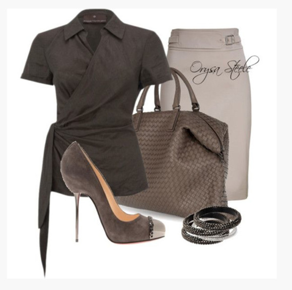 clothes skirt outfit top bag bangles shirt bracelets high heels purse shoes pumps short sleeves collar cross over top wrapped top dark gray dark grey steel toe pumps suede heels pencil skirt tope skirt