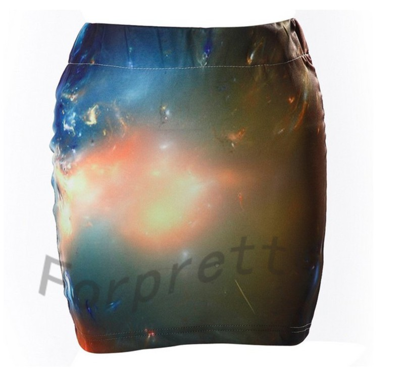 Psychedelic universe galaxy starry sky print elastic bodycon mini skirt