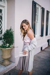 skirt,tumblr,midi skirt,silver,metallic,pleated,pleated skirt,metallic pleated skirt,top,white top,cardigan,long cardigan,grey cardigan,clutch