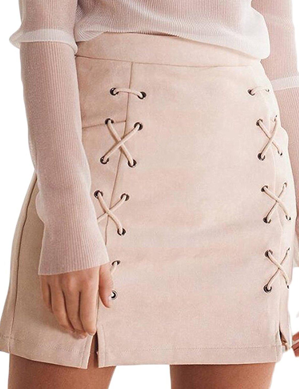 72d44276d2 Wearlove Women Sexy Lace Up High Waist Faux Suede Stretch Mini ...