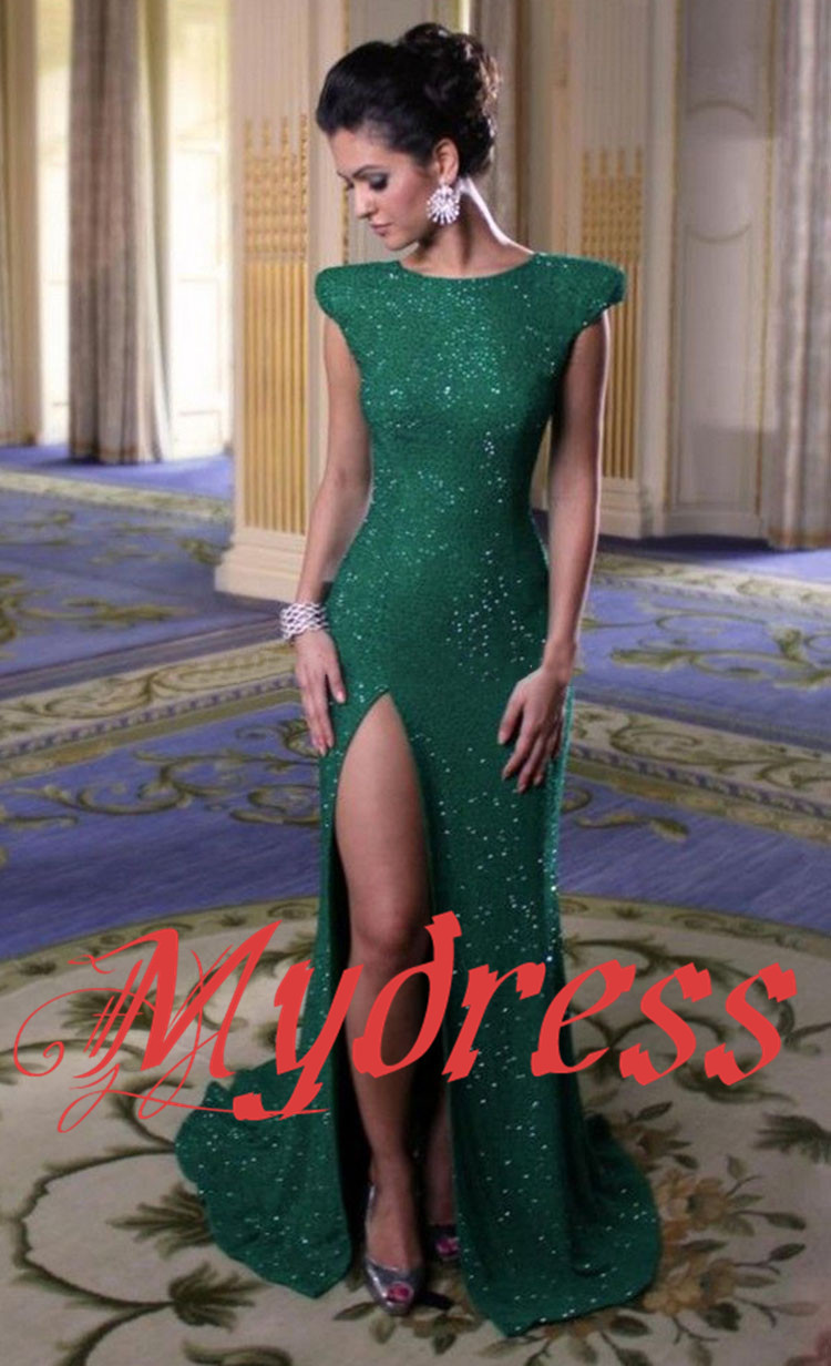 Aliexpress.com : buy modest cap sleeves high slit emerald green sequined mermaid evening dresses 2014 new arrival vestidos de fiesta for party c008 from reliable dress lilac suppliers on mydress studio