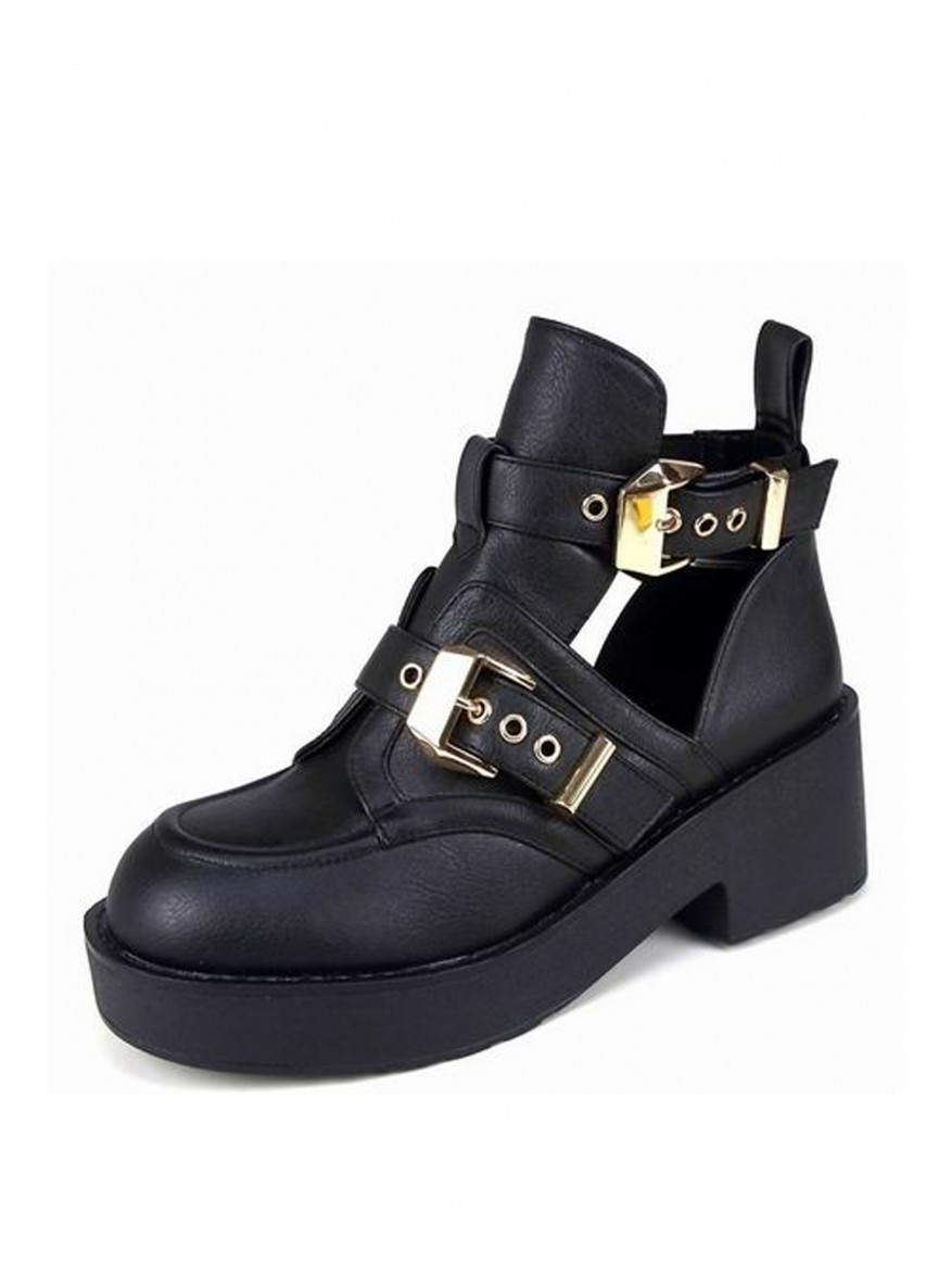 Chunky Cut Out Gold Buckle Ankle Boots