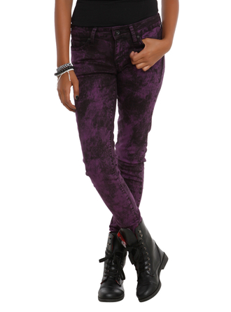 pants jeans purple black acid wash splatter acid washed skinny jeans