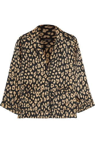 shirt print silk brown leopard print top