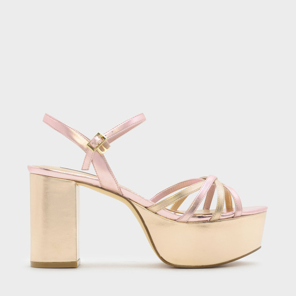 cross sandals platform sandals gold shoes