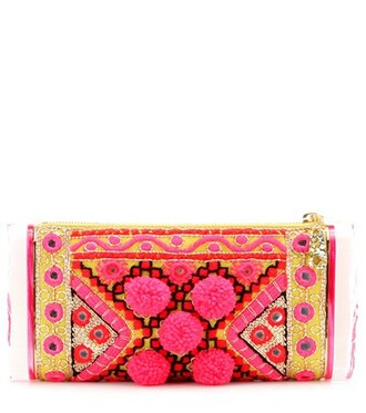 embroidered clutch pink bag