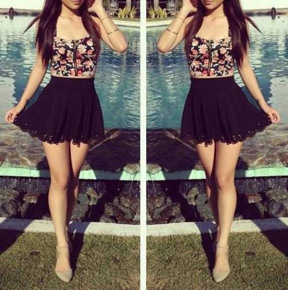 print summer outfits top skirt flowers trendy cute