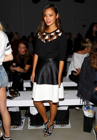 skirt top fashion week sandals jamie chung blogger