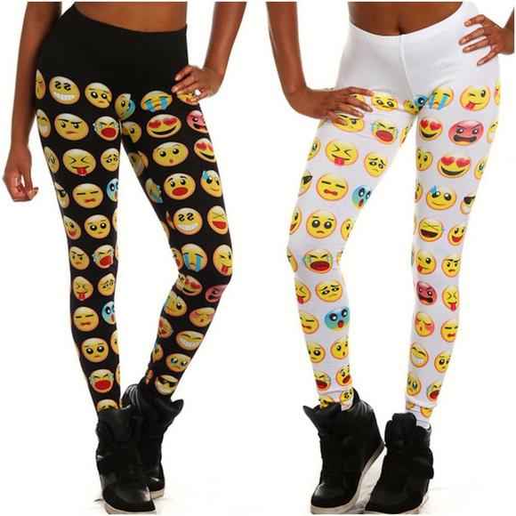 cotton trendy emoji emoji leggings fashionable teens womens musthave comfy leggings emoji print wheretoget?