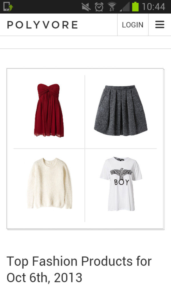 dress shirt t-shirt skirt sweater
