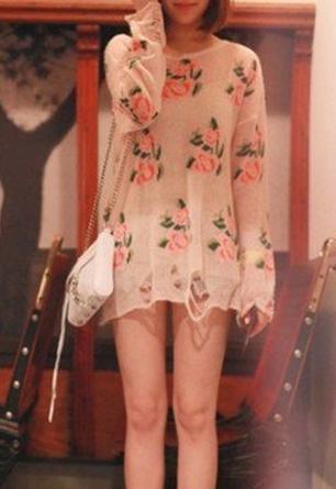 Vintage knitted spring floral shredded pullover jumper multiple colors