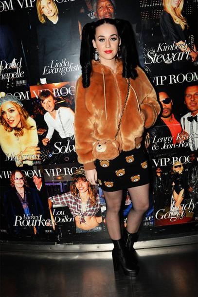skirt top jacket fur jacket katy perry purse