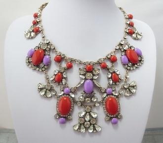 jewels j crew jcrew inspired aliexpress necklace statement necklace rhinestones lilac