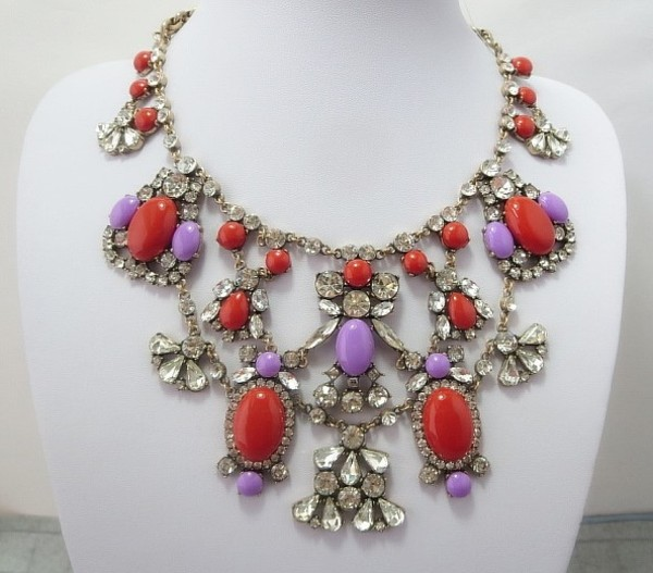 jewels j crew jcrew inspired aliexpress necklace statement necklace statement necklace rhinestones lilac