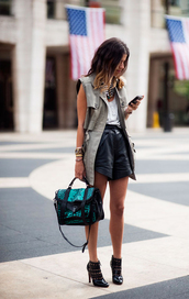 coat,clothes,bag,shorts,high waisted,High waisted shorts,black,leather shorts,military green vest,black shorts,top,white top,streetstyle,ankle boots,boots,black boots,handbag,vest,statement necklace,necklace